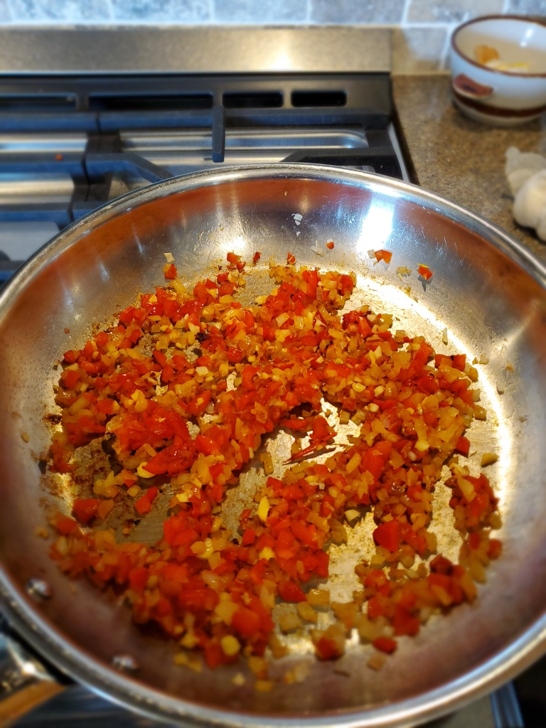 Sauteed onions and red pepper