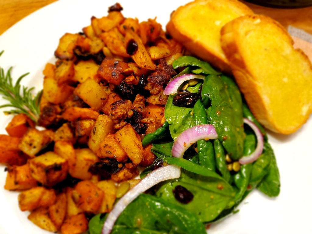 Roasted winter squash and potatoes