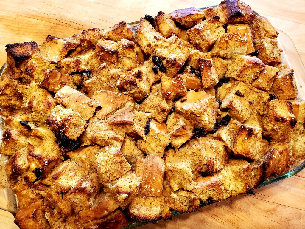 Baked pumpkin bread pudding
