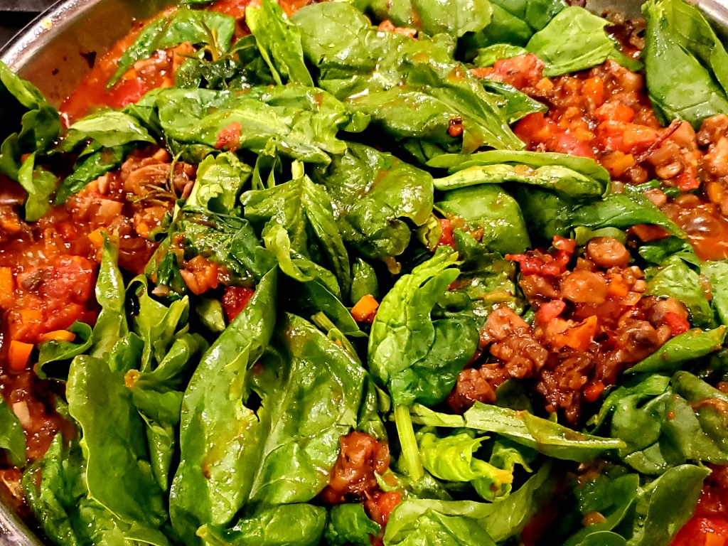Ragout with spinach