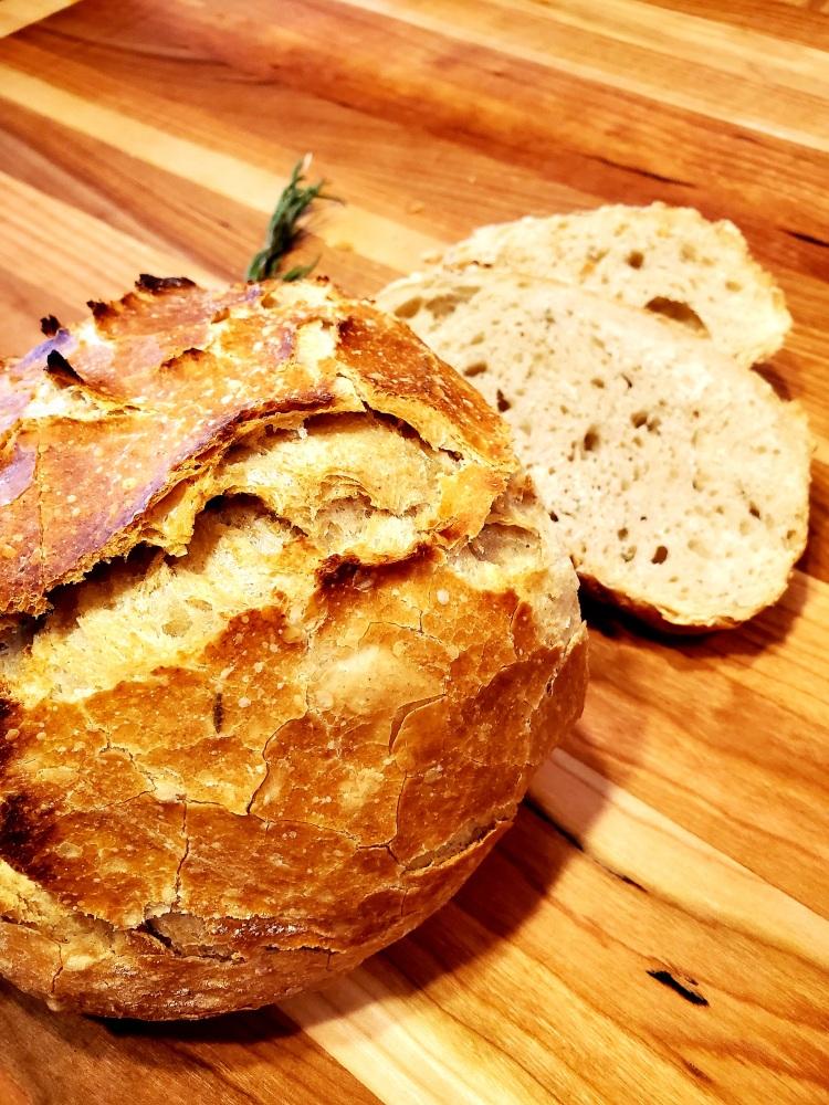 loaf of crusty artisan bread