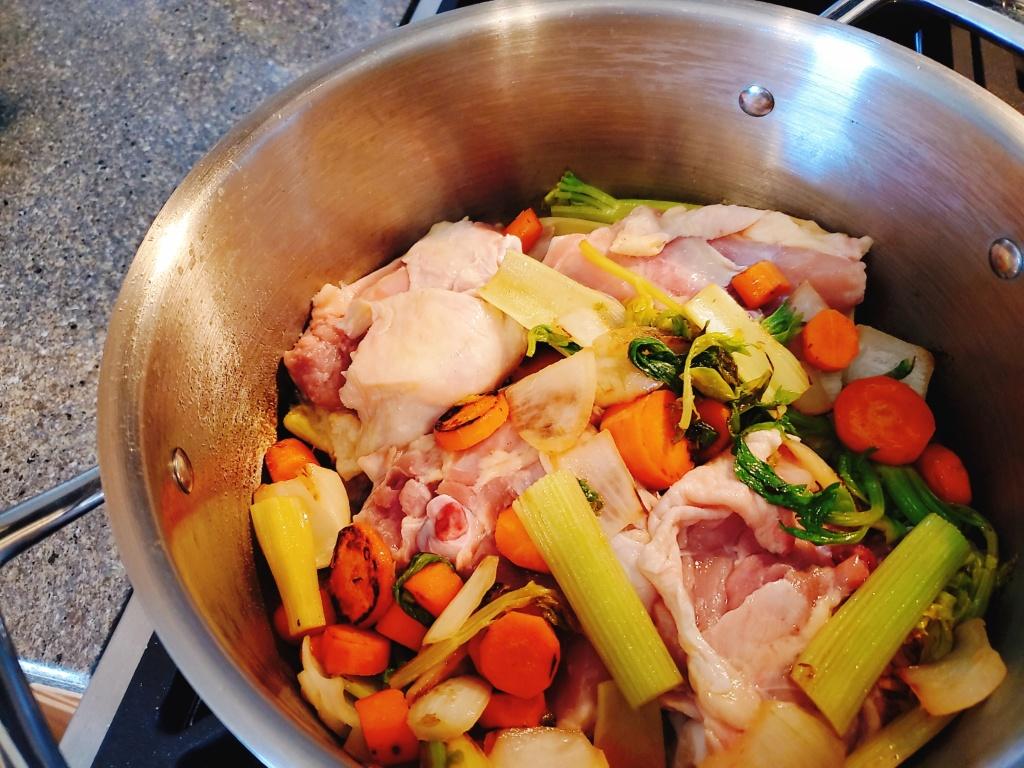 The begining of chicken stock