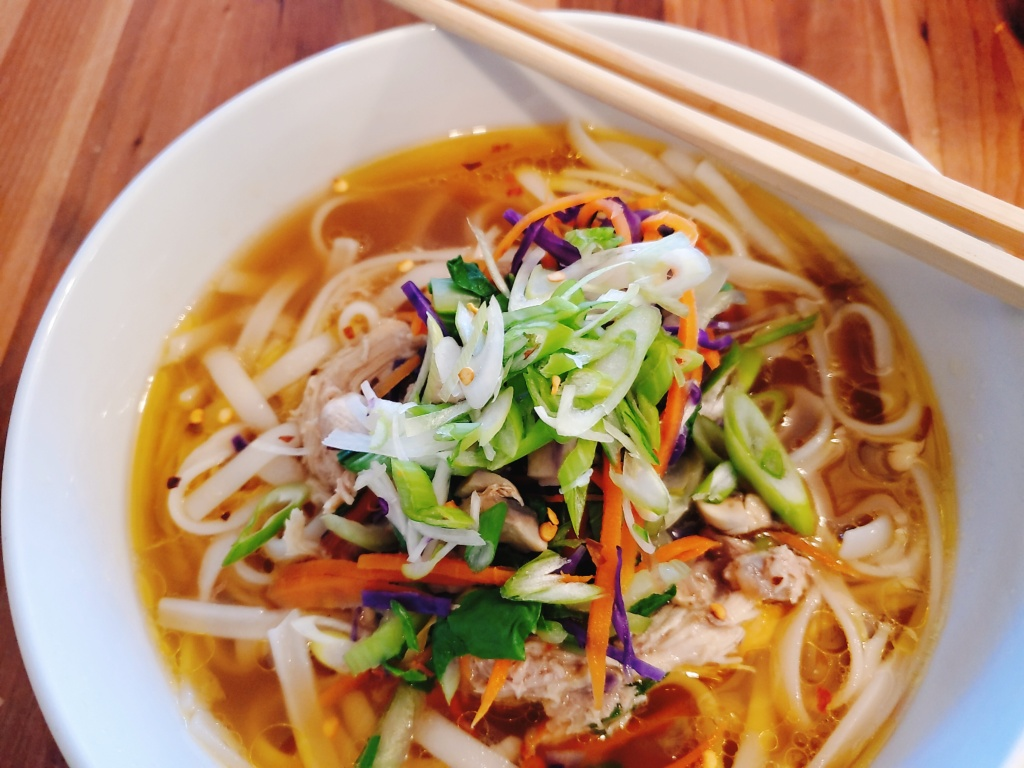Spicy Asian Noodle soup with chicken