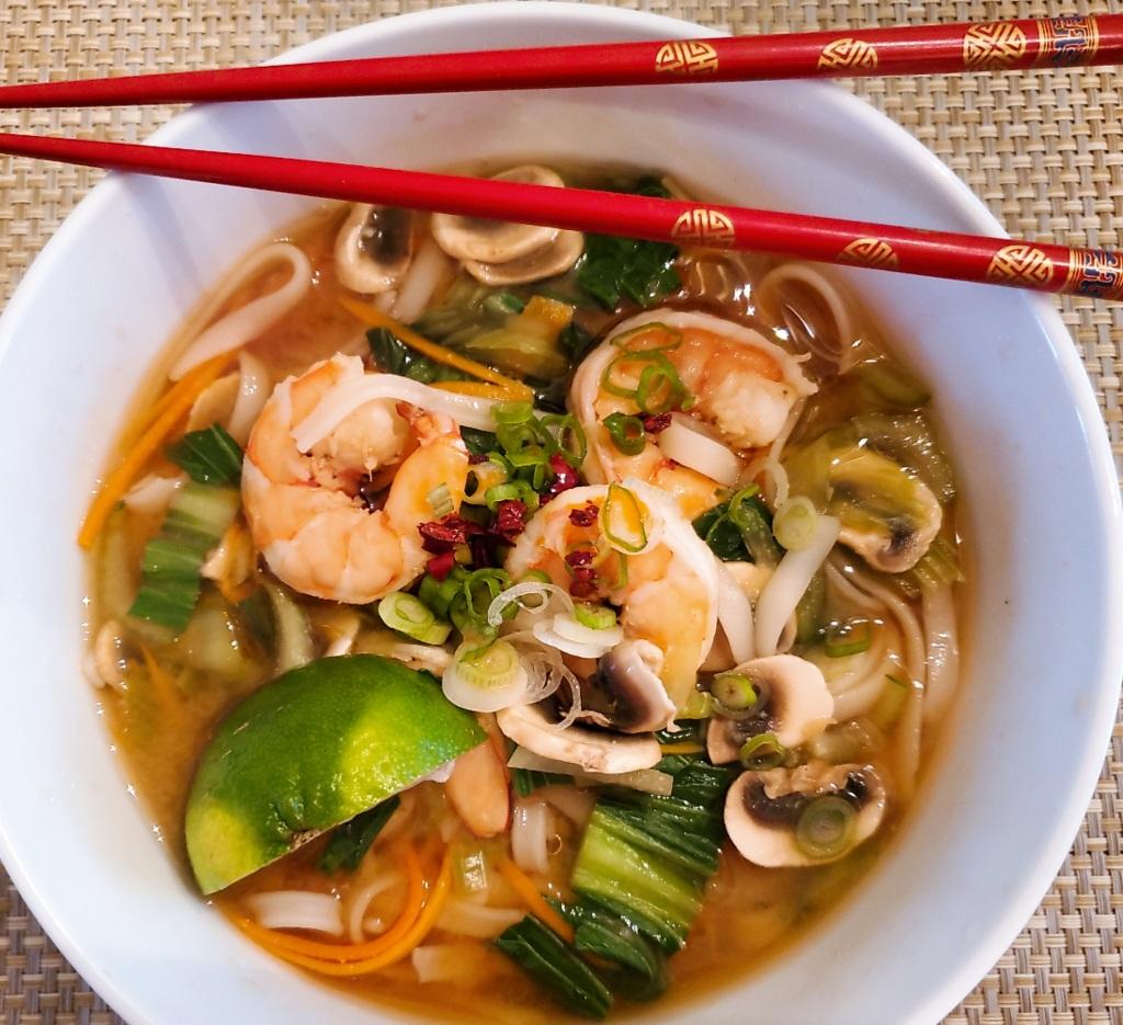 Spicy Asian Noodle soup with shrimp